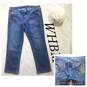 WHBM Studded Embroidered Pockets Cropped Denim 10